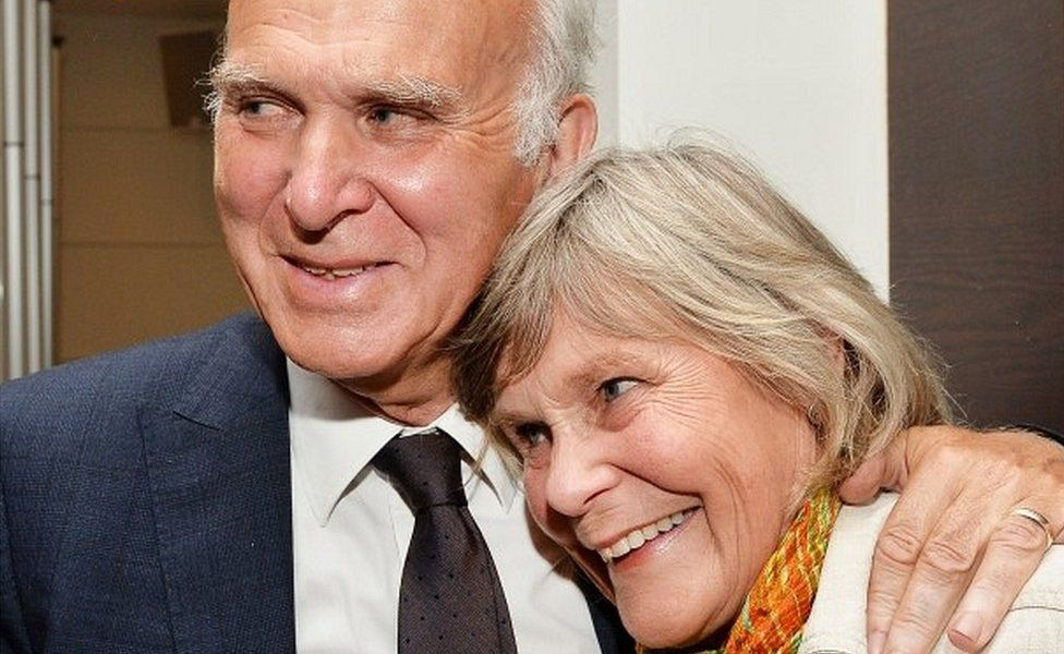 Vince Cable with his wife Rachel