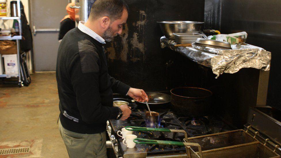 Ayman Attar Bashi making Turkish-style coffee at Pita Shack in Austin, Texas