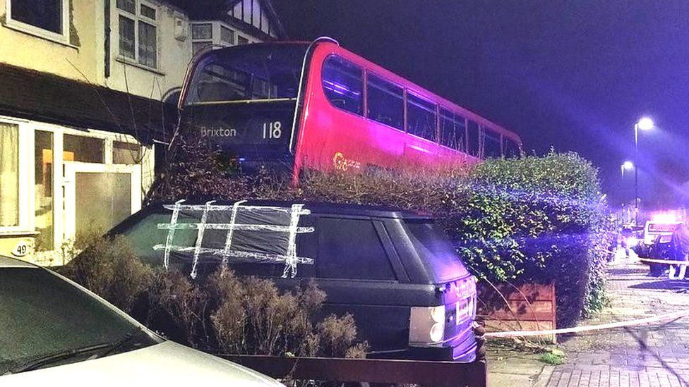 The bus crashed into a front garden