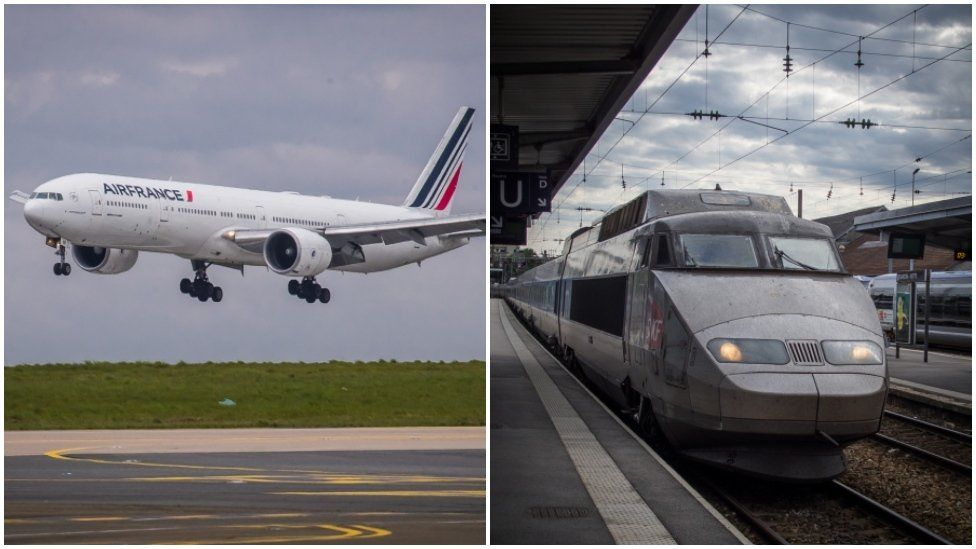 A composite image showing an Air France Boeing 777 and a high-speed TGV train