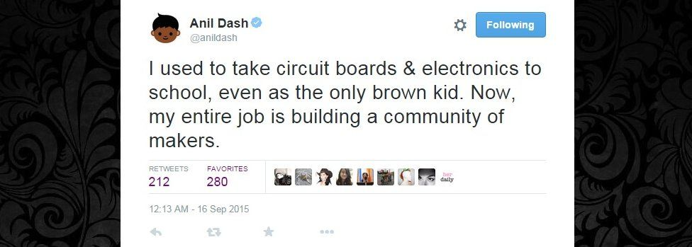 Anil Dash tweet: I used to take circuit boards & electronics to school, even as the only brown kid. Now, my entire job is building a community of makers.