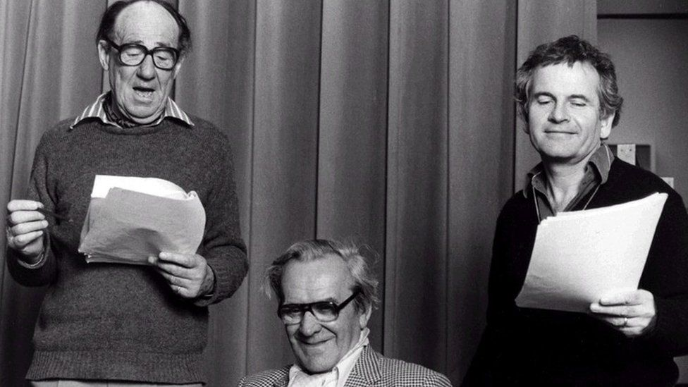 Michael Hordern, John Le Mesurier and Ian Holm recording The Lord of the Rings