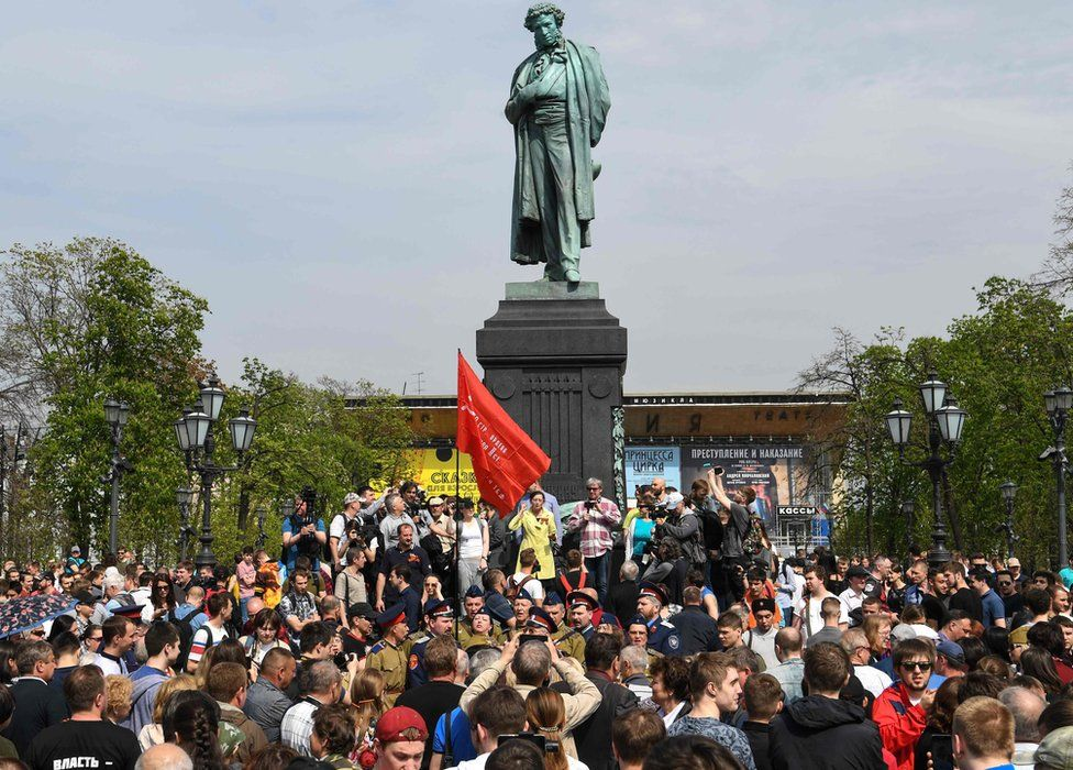 Demonstration at base of statue of Alexander Pushkin on Pushkin Square, Moscow