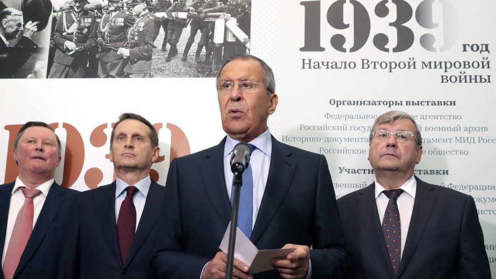 Foreign Minister Sergei Lavrov at the opening of an exhibition on the start of World War Two