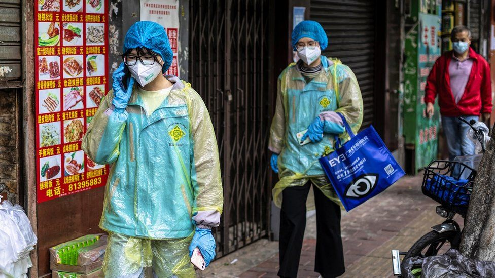 People wearing protective clothing
