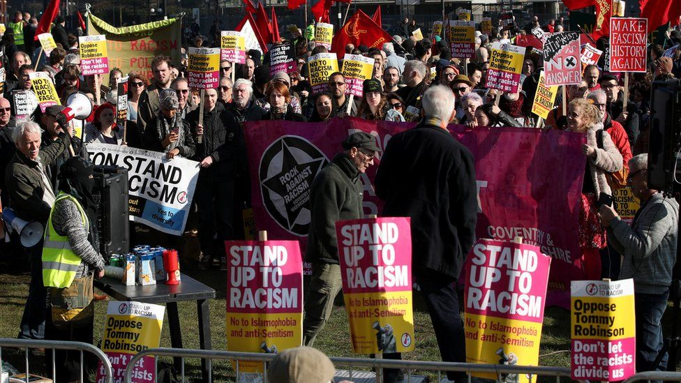 A counter-protest was also held at MediaCityUK by anti-fascists