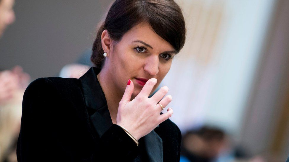 France's minister of state for gender equality, Marlene Schiappa, during a conference in New York on 31 January