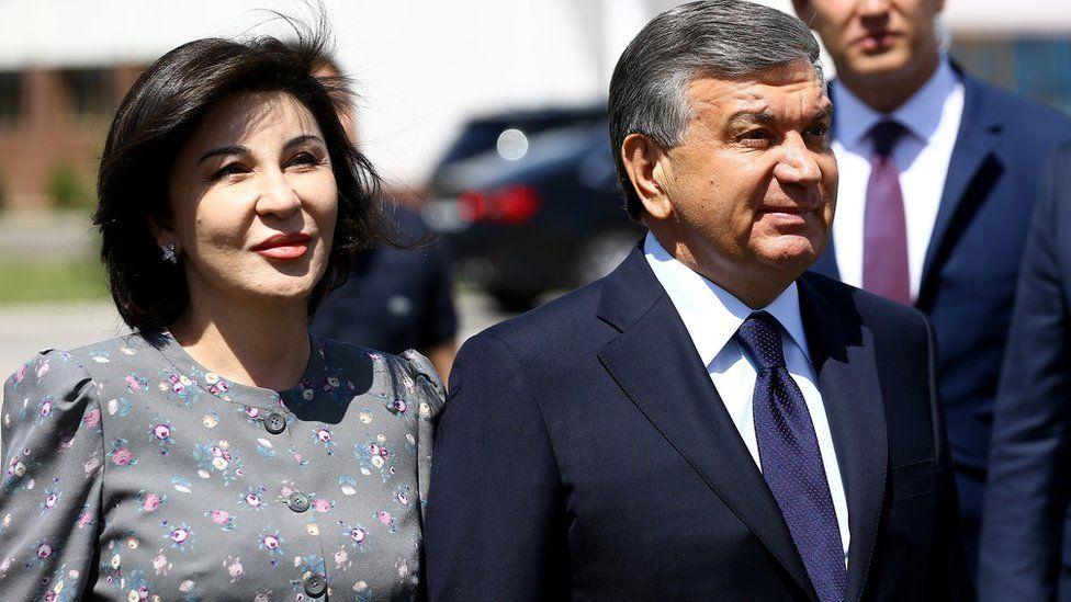 President of Uzbekistan Shavkat Mirziyoyev (R) and his wife Ziraat Mirziyoyev (L)