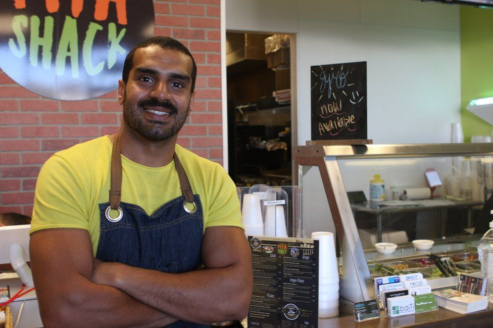 Pita Shack worker and Iraqi refugee Adil is in the process of applying for the US Army