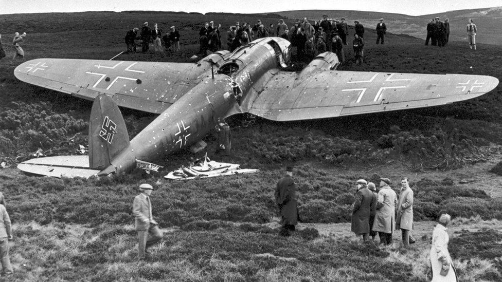 Downed aircraft, the Heinkel HE-111 by Archibald 'Archie' McKellar
