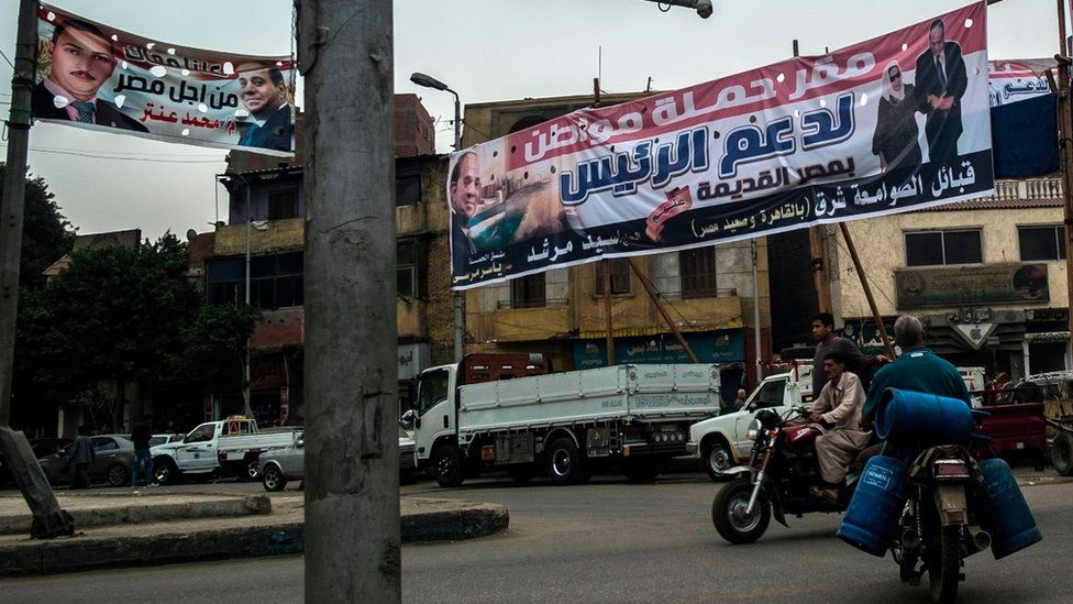 An election campaign banner erected by supporters of Egyptian President is seen in the capital Cairo on February 21, 2018.