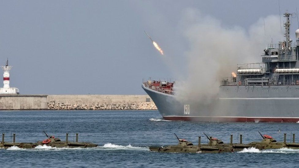 Russian ship fires celebratory missile