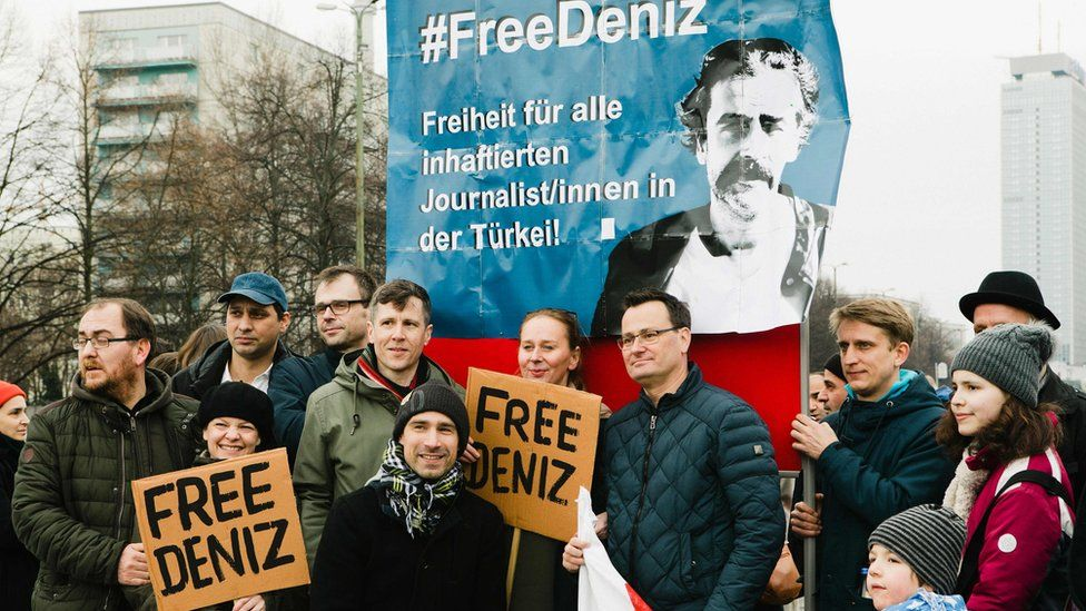 There have been demonstrations in Germany calling for Mr Yucel to be freed