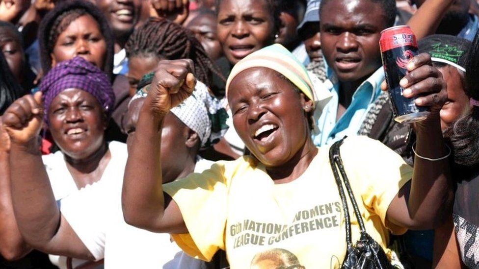 Supporters of President Mugabe