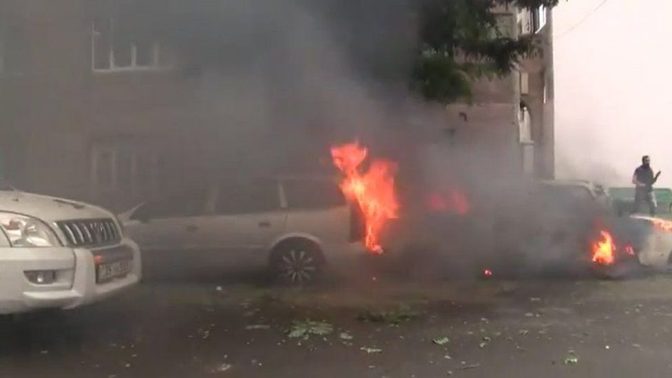 Burning cars in Stepanakert, the capital of the disputed Nagorno-Karabakh region. Photo: 4 October 2020