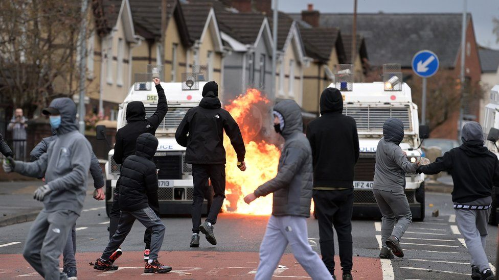 Petrol bombs were thrown at police