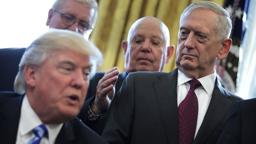 James Mattis looks at US President Donald Trump as he speaks during a meeting at the White House in Washington in, March 2017