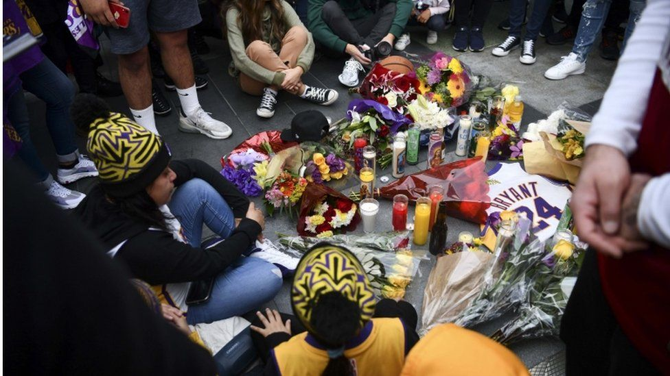 La Lakers fans at a vigil outside the Staples Center in Los Angeles, 26 January 2020