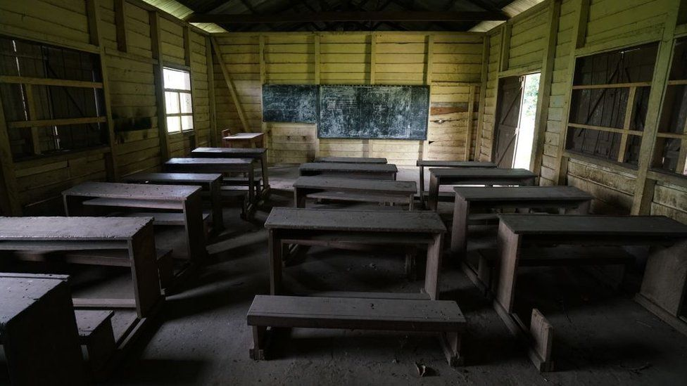 An empty classroom in a now abandoned school on May 12, 2019 in SW Cameroon. Many government paid teachers now refuse to go to schools in SW Cameroon after threats from armed separatists
