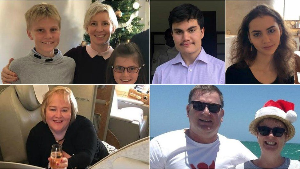 Alex, Anita and Annabel Nicholson, Daniel and Amelie Linsey, Dr Sally Bradley and Bill Harrop, Lorraine Campbell (clockwise from top left)