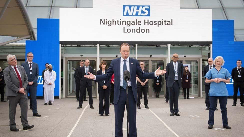 Health Secretary Matt Hancock at the Nightingale Hospital in London