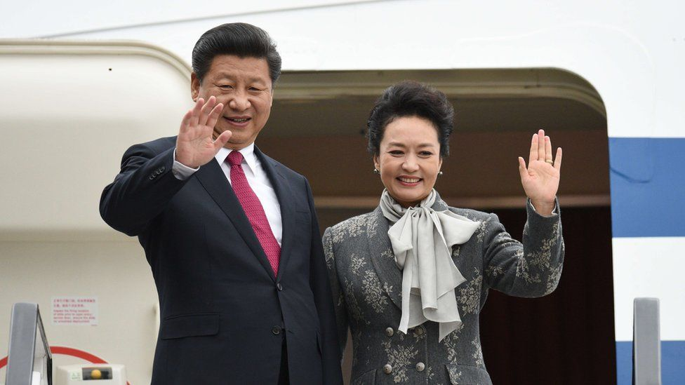 Mr Xi and his wife bid farewell at the end of the state visit