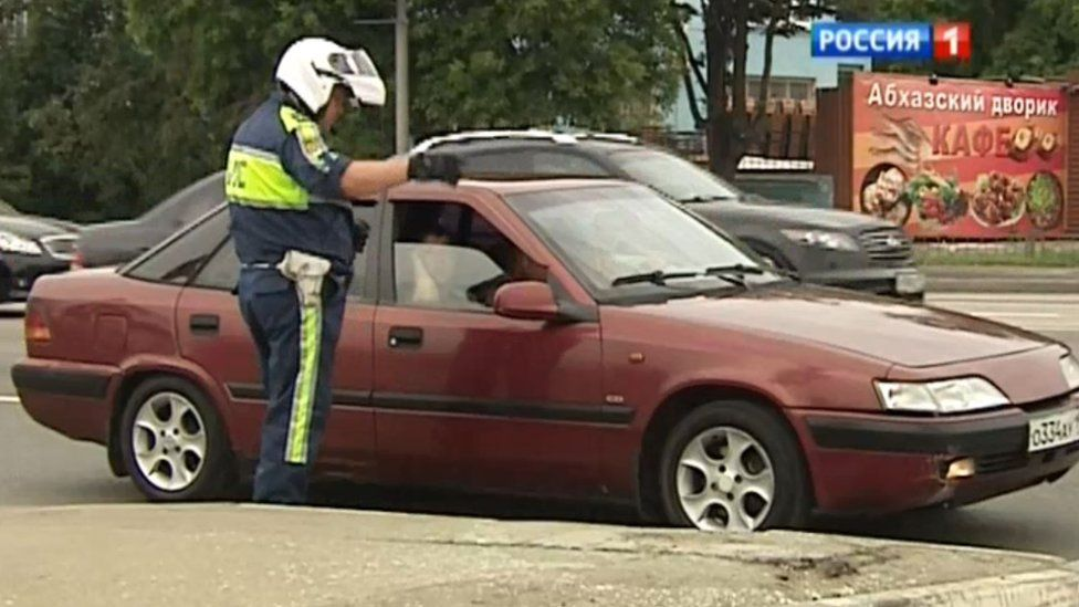 A traffic warden in Moscow