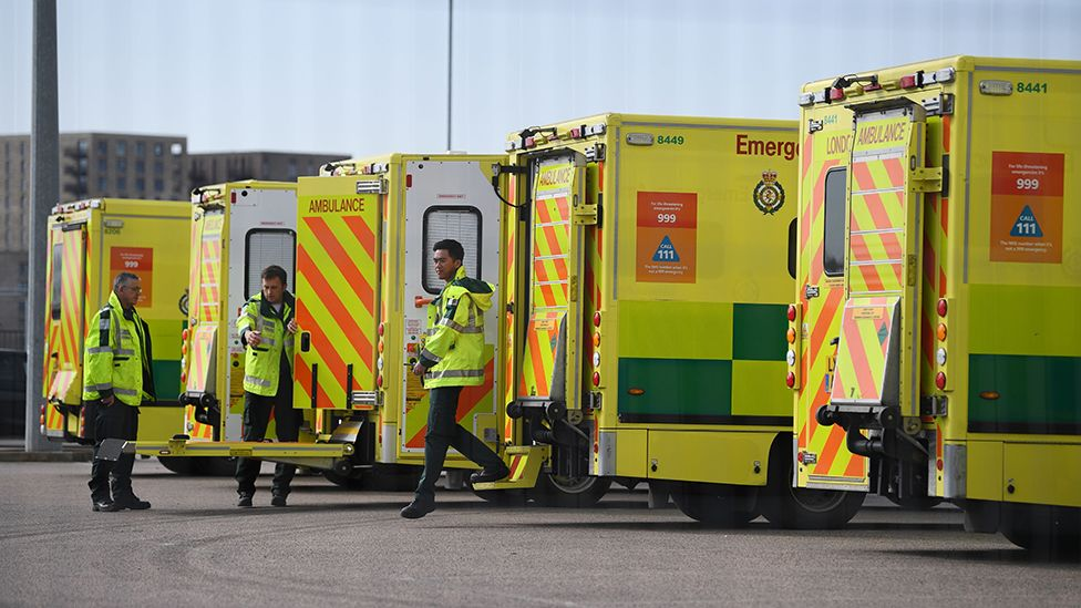Ambulances outside NHS Nightingale