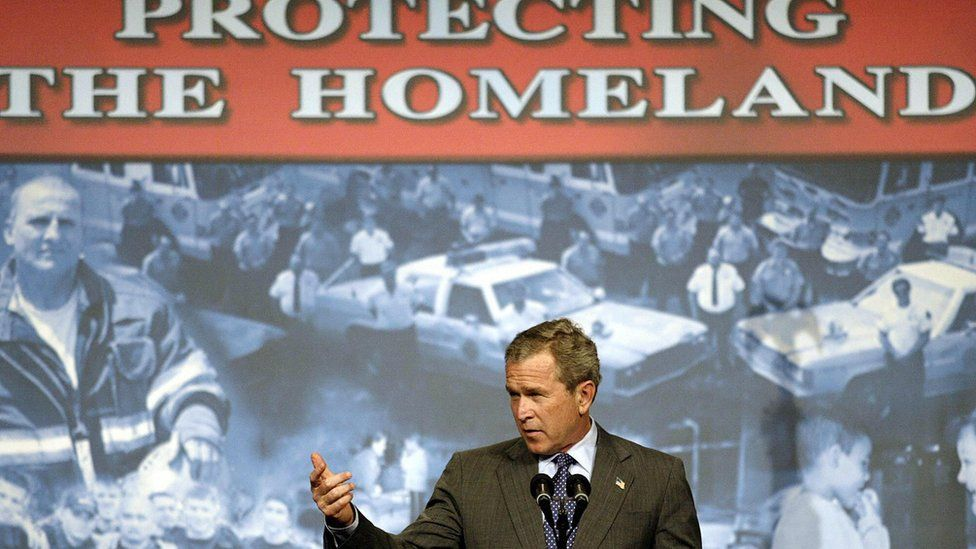US President George W. Bush makes remarks on the USA Patriot Act 19 April 2004