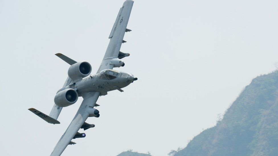 A US Air Force A-10 Thunderbolt II attack aircraft