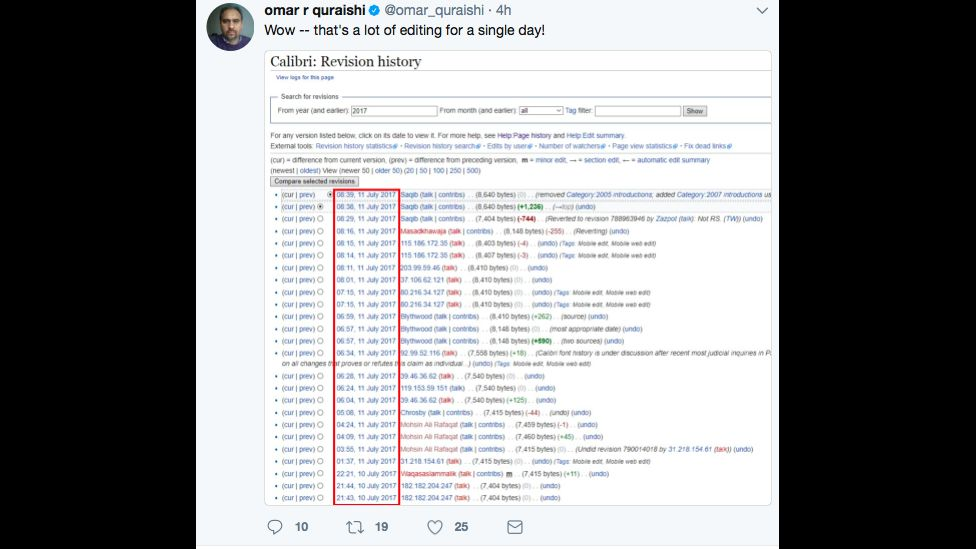 """Tweet showing a picture of the Wikipedia edits page for Calibri font and message saying """"that's a lot of editing for one day!"""""""