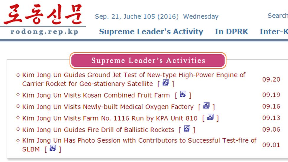 Screen shot of the Rodong Shibun state media website