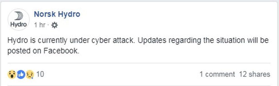 Hydro Facebook update