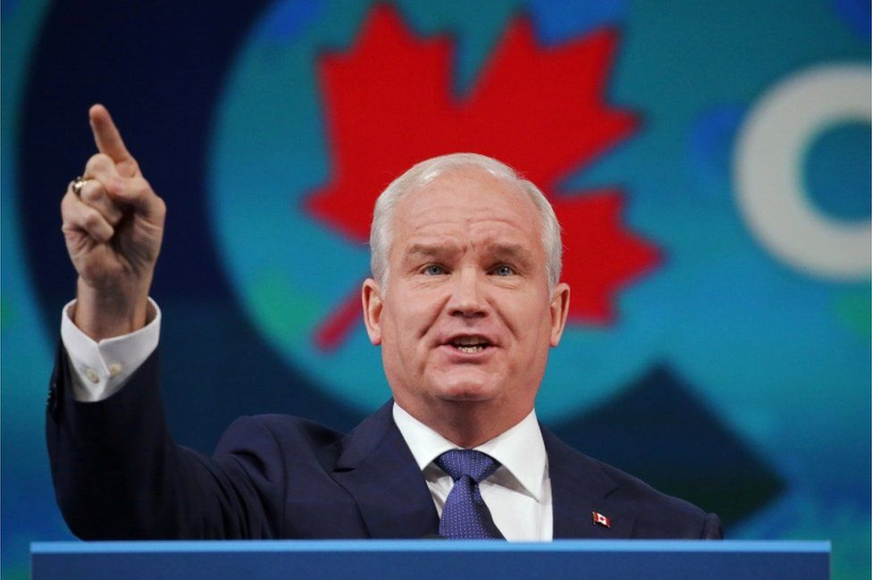 Conservative Leader Erin O'Toole speaks from Oshawa, Ontario