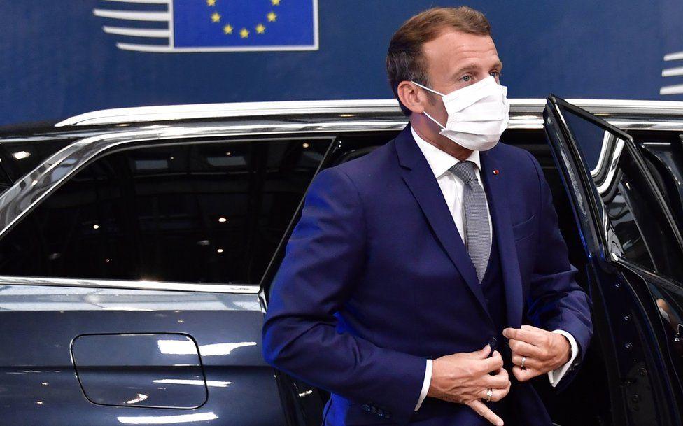 Emmanuel Macron arriving for EU summit on 17 July