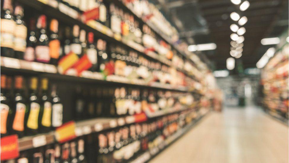 Alcohol supermarket aisle