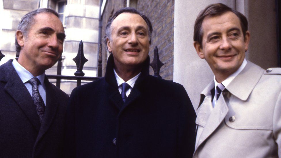 Nigel Hawthorne, Paul Eddington and Derek Fowlds