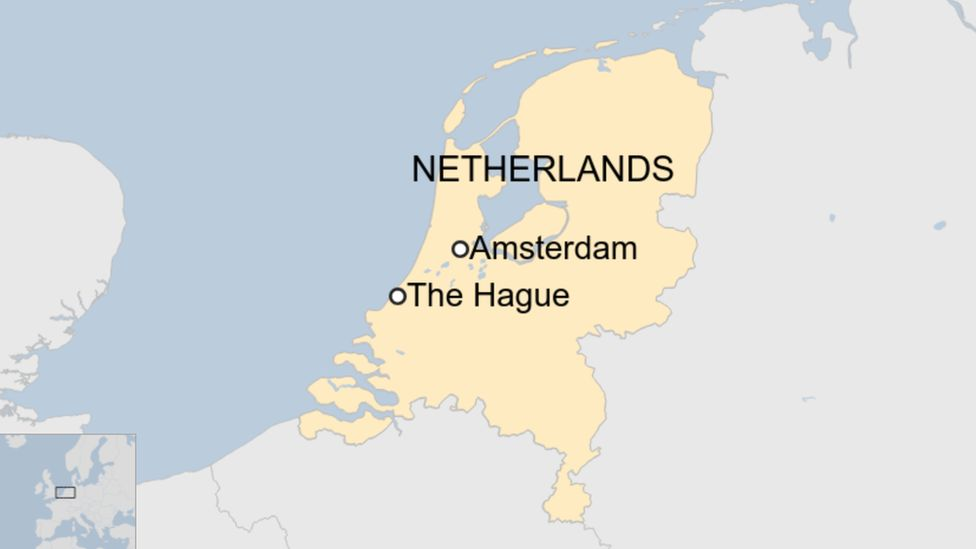 Map of the Netherlands with The Hague and Amsterdam marked