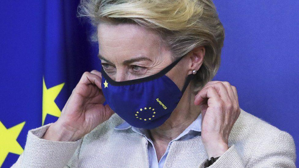 European Commission President Ursula von der Leyen wears her mask