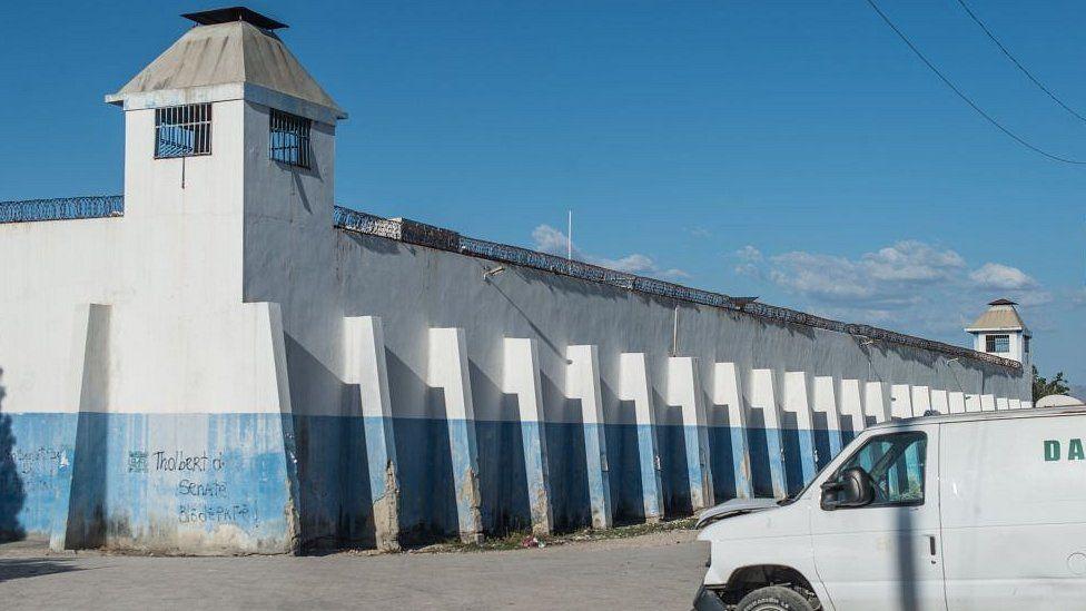 The facade of the Croix-des-Bouquets prison
