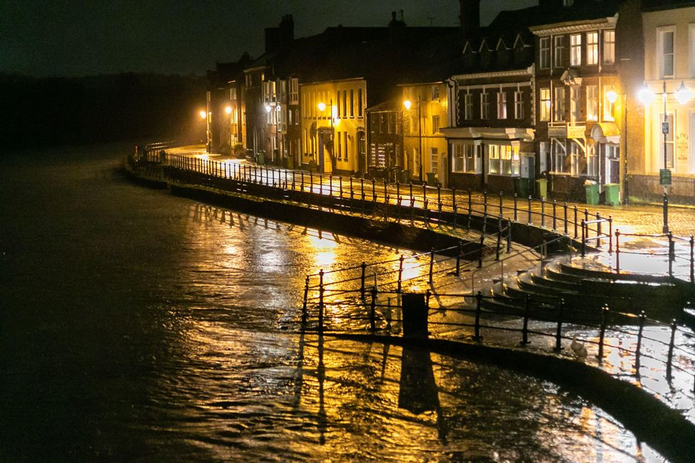 The River Severn is seen rising in Bewdley, Worcestershire, 20 January 2021