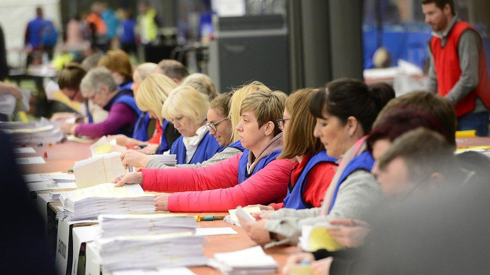 Counting staff working at the count centre in Magherafelt