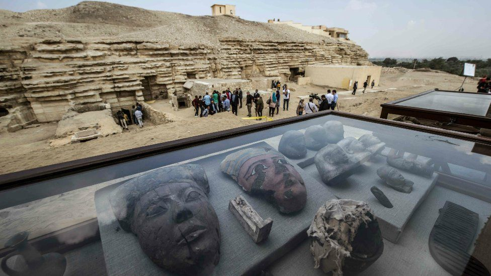 Items are displayed on the edge of King Userkaf pyramid complex in Saqqara Necropolis on November 10, 2018.