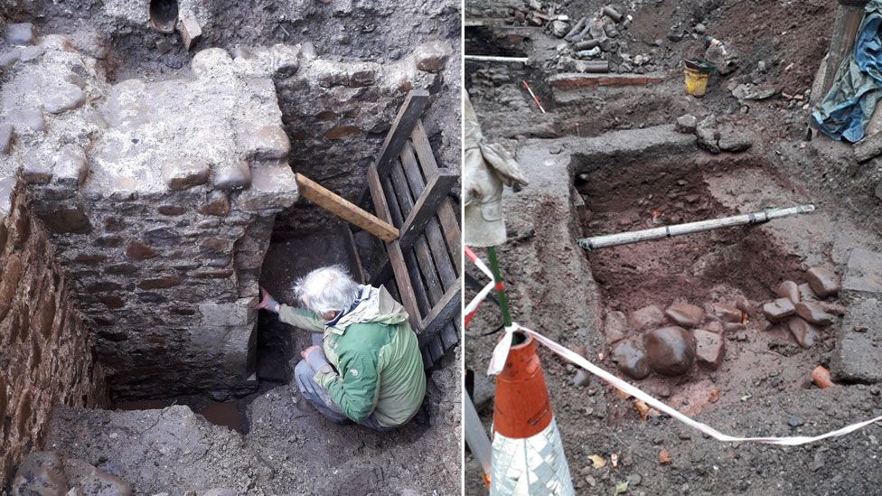 The excavated walls of the building
