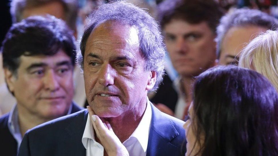 Daniel Scioli after delivering his concession speech in Buenos Aires on 22 November, 2015.