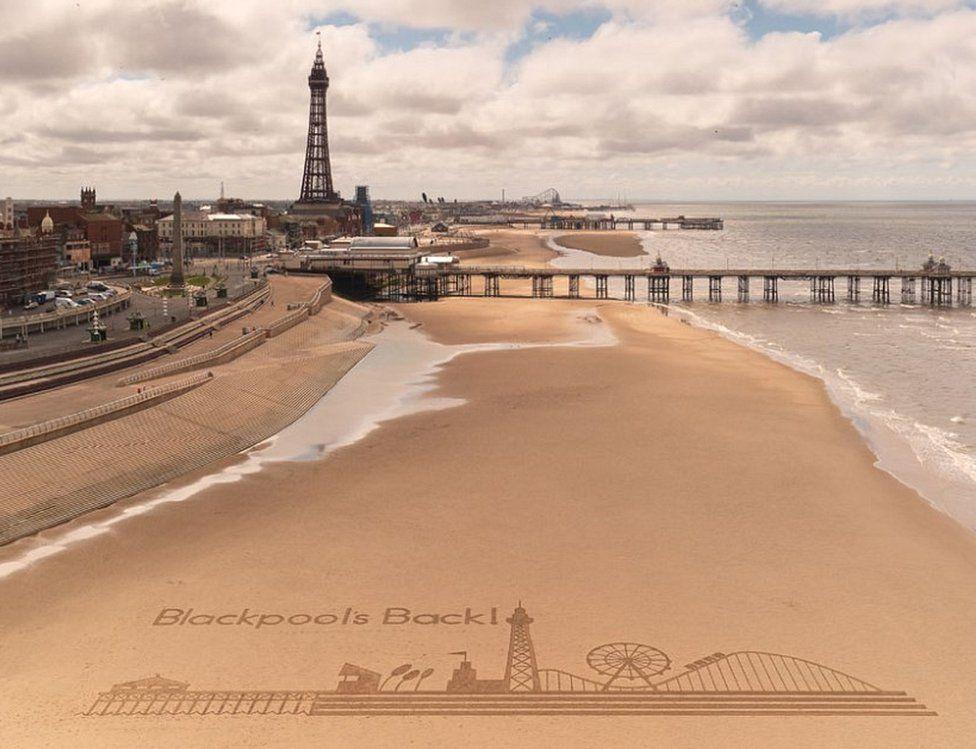 Giant sand art on Blackpool beach