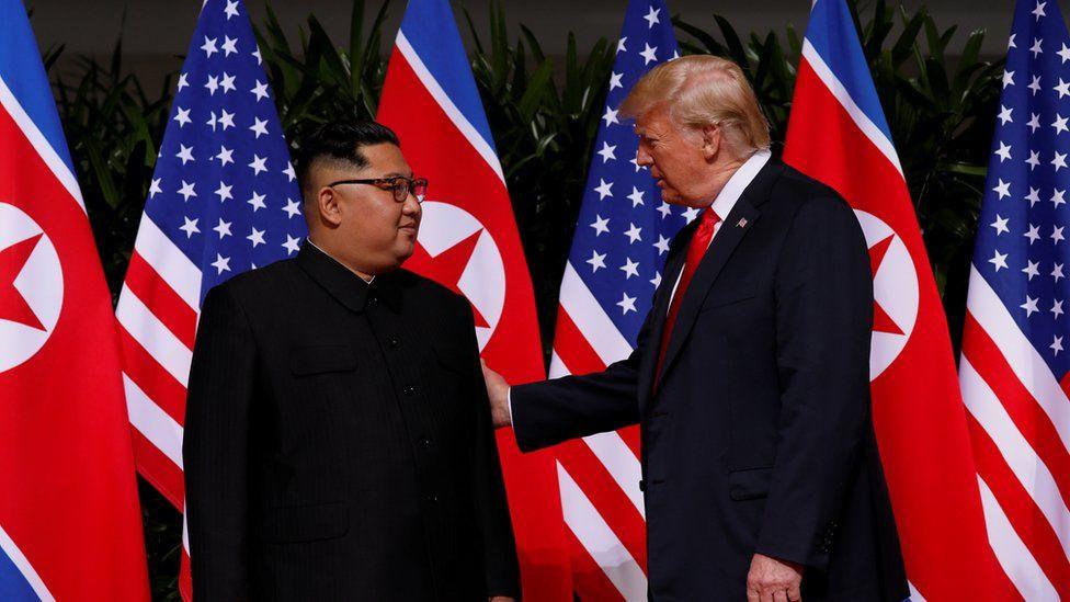 "U.S. President Donald Trump and North Korea""s leader Kim Jong Un meet at the Capella Hotel on the resort island of Sentosa, Singapore"