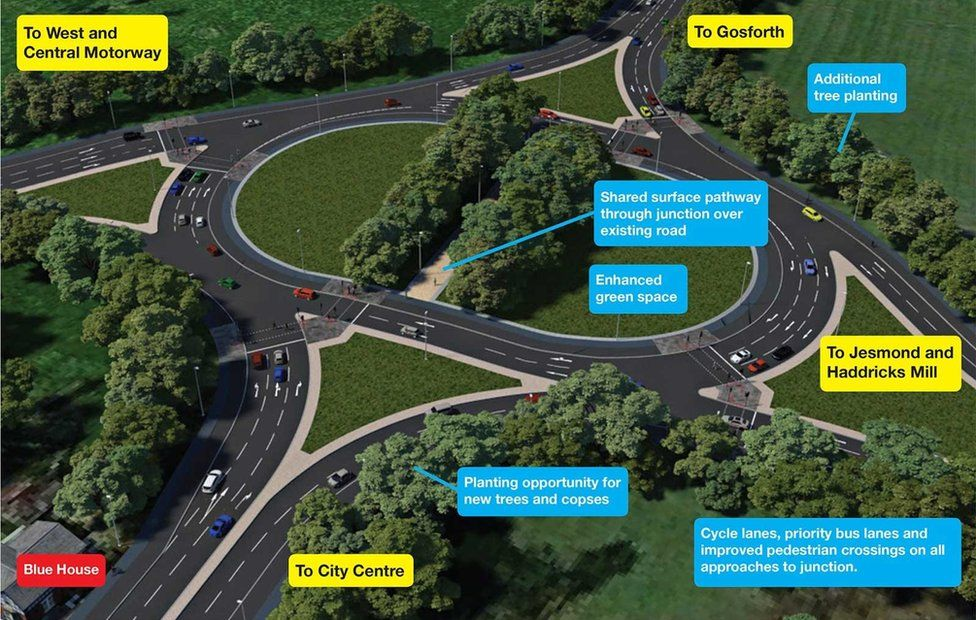 Computer generated image of proposed new Blue House roundabout