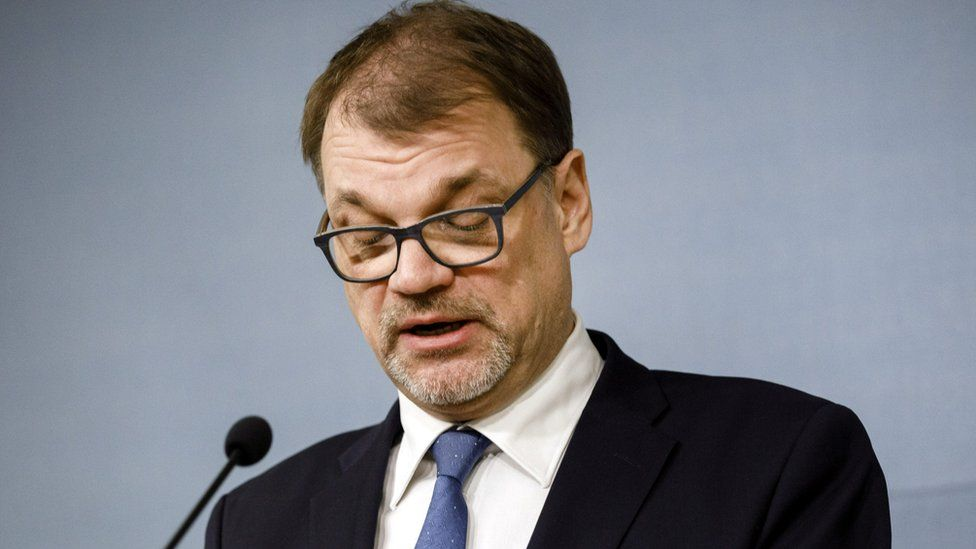 Finnish Prime Minister Juha Sipila announces his government's resignation at a news conference at his official residence, Kesaranta, in Helsinki