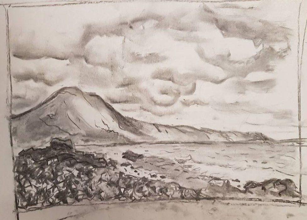 A landscape sketch by Berenice Baker